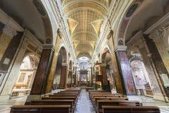 Rieti (Włochy), katedralny wnętrze Zdjęcia Stock