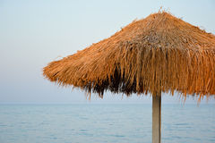 Rietparaplu aan de kust Stock Afbeeldingen