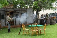 Rievocazione di scontro a fuoco di Bandera TX Immagine Stock