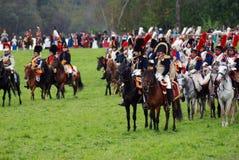 Rievocazione storica di battaglia di Borodino in Russia Fotografia Stock