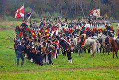 Rievocazione storica di battaglia di Borodino in Russia Fotografie Stock Libere da Diritti
