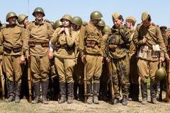 Rievocazione storica di WWII a Kiev, Ucraina Fotografie Stock