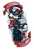 Riez maintenant le cri plus tard, salaire de jouez maintenant plus tard, vecteur de tatouage de clown illustration de vecteur