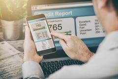 Riferisca le attività bancarie del punteggio di credito che prendono in prestito la forma di rischio dell'applicazione immagine stock