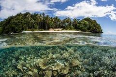 Riff und Insel Stockfotos