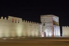 Riffa fort på natten, kungarike av Bahrain Royaltyfri Foto