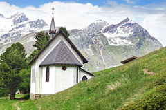 Riffelalp Kapelle, Switzerland. Stock Photo