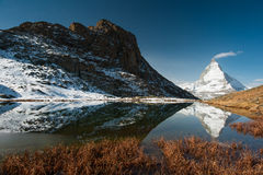 Riffelsee with Matterhorn Stock Images