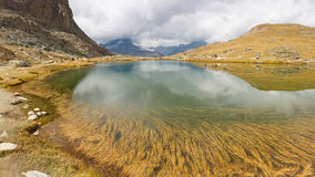 Riffelsee and Matterhorn in the Clouds Royalty Free Stock Photos