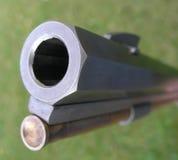 Riffle barrel. Looking down the barrel of a flintlock riffle Stock Photo