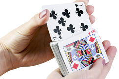 Riffle the cards. Isolated on a white background Stock Photo