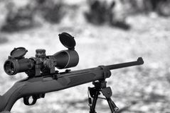 22 riffle. Ruger 22 caliber rifle in black-and-white Royalty Free Stock Photo
