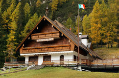 Riffuggio Staulanza in the Dolomites in autumn Royalty Free Stock Images
