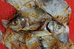 Rifiuti da un mucchio dei pezzi di pesce dalle ossa e dalle teste fotografie stock libere da diritti