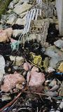 Rifiuti della spiaggia accatastati su riprap immagini stock