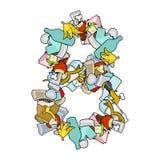 Rifiuti di numero 8 Segno della fonte otto dei rifiuti simbolo di alfabeto dell'immondizia Immagine Stock