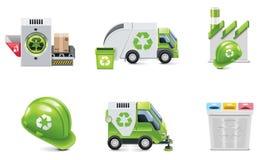 Rifiuti di vettore che riciclano l'insieme dell'icona Fotografia Stock Libera da Diritti