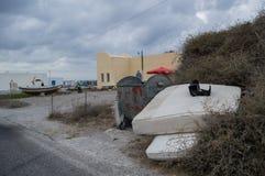 Rifiuti, Santorini fuori dalla pista battuta, Grecia Fotografia Stock