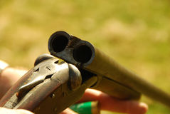 Rifle. Double barrell rifle ready for loading of ammo royalty free stock photography