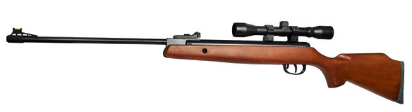 Rifle. Air rifle with an optical sight. It is isolated on a white background royalty free stock images