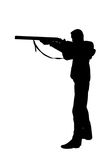 Rifle. Hunter aiming a rifle on white Stock Images