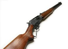 Rifle. Picture of the 30-30 marlin rifle isolated on the white background Stock Images