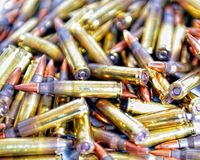 Rifle Ammo. 7.62x39 caliber ammo for an assault rifle Royalty Free Stock Images