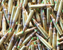 Rifle ammo with green tip bullets Royalty Free Stock Image