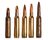 Rifle ammunition. 5 different types of projectiles. Cal 6,5x55 Stock Photography