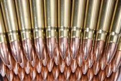Rifle ammunition. Rows of assault rifle ammunition Royalty Free Stock Photo