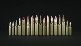 Rifle ammunition on black background 3d illustration. Rifle ammunition 3d illustration Royalty Free Stock Photos