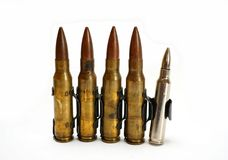 Rifle ammunition in clip Royalty Free Stock Image