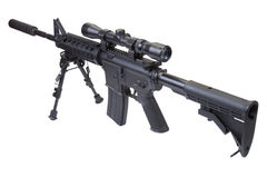 Rifle with bipod. Isolated on a white background Stock Photography