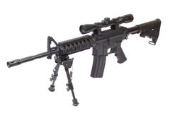 Rifle with bipod isolated. On a white background Royalty Free Stock Photography