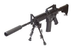 Rifle with bipod. Isolated on a white background Stock Photo