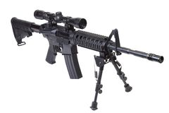 Rifle with bipod. Isolated on a white background Royalty Free Stock Photo