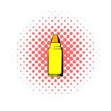 Rifle bullet icon, comics style. Rifle bullet icon in comics style on a white background Stock Image