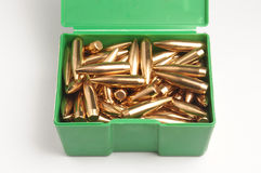 Rifle bullet tips in box Royalty Free Stock Images