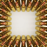 Rifle Bullets. 5.56 mm rifle bullets organizing in rows Stock Images