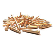 Rifle bullets over white background Royalty Free Stock Photography