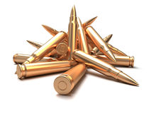 Rifle bullets over white background Stock Images