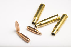 Rifle bullets separated Stock Image