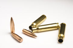 Rifle bullets separated Stock Photos