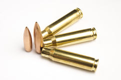 Rifle bullets separated Royalty Free Stock Image
