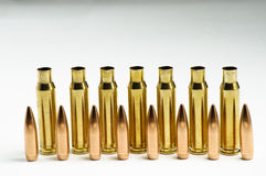 Rifle bullets separated Royalty Free Stock Photo
