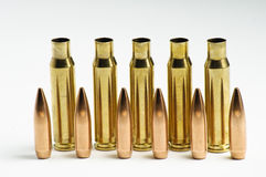 Rifle bullets separated Royalty Free Stock Photos