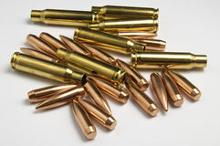 Rifle bullets separated Stock Photography