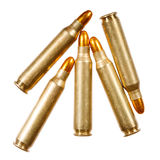 Rifle bullets on a white background. Stock Images