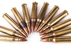 Rifle Bullets on White Royalty Free Stock Photography