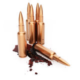 Rifle cartridges with blood. On white background. 3d render Stock Photography